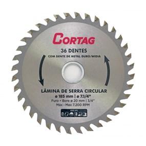 """Lâmina serra circular 36D 7.1/4"""" 185mm Cortag"""