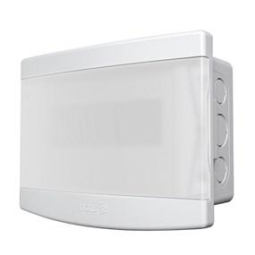 Quadro distribuição c/ barramento embutir Tigre 6/8 disjuntores porta transparente
